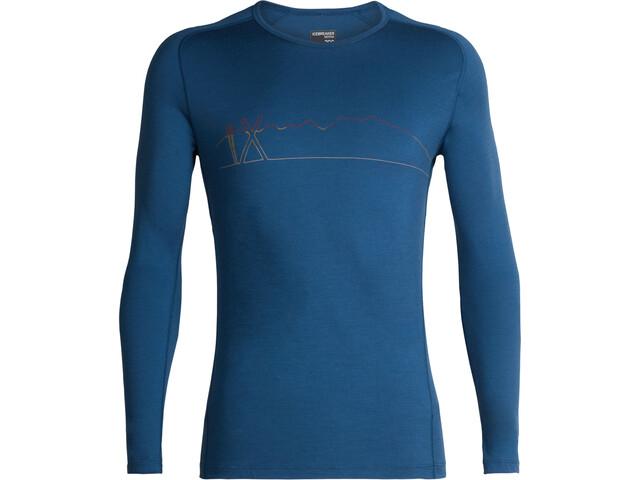 Icebreaker 200 Oasis Deluxe Raglan Single Line Ski LS Crewe Shirt Herr prussian blue